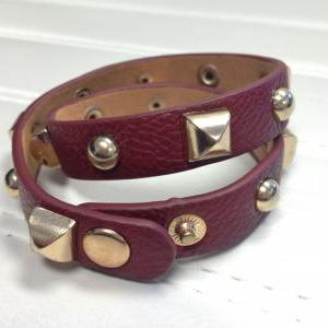 Leather Burgandy Wrist Wrap Gold Ac..