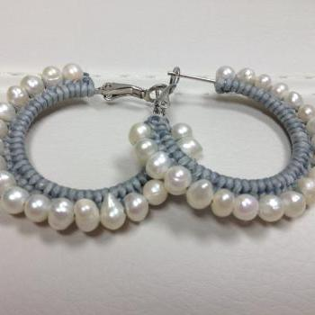 Boho Raw Pearl Hoop Earrings