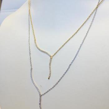 Rhinestone Drop Bar Necklace
